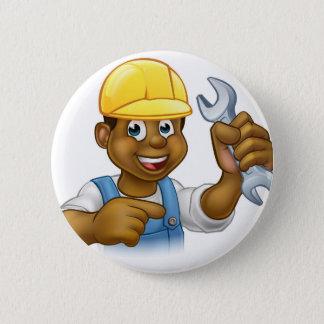Mechaniker oder Klempner mit Schlüssel-Cartoon Runder Button 5,7 Cm
