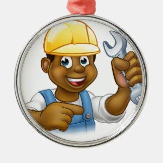 Mechaniker oder Klempner mit Schlüssel-Cartoon Rundes Silberfarbenes Ornament