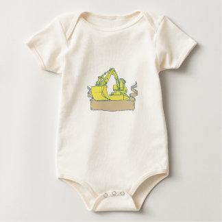 Mechanischer Gräber-Bagger-Band-Rolle-Zeichnen Baby Strampler