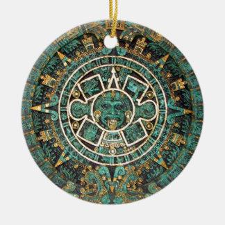 Medaillon-Münzen-Verzierung, alter aztekischer Keramik Ornament