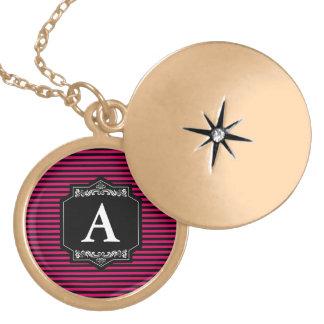 Medaillon Rundes Gold Streifen Pink Monogramm