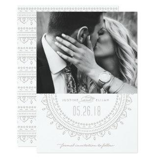 Medaillon-Save the Date Karte - Asche