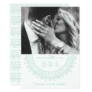 Medaillon-Save the Date Karte - Minze 12,7 X 17,8 Cm Einladungskarte