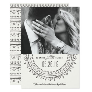 Medaillon-Save the Date Karte - Schiefer 12,7 X 17,8 Cm Einladungskarte