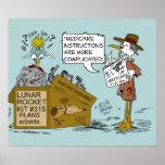 Medicare-Witz-Cartoon durch Ric Leonard Plakat