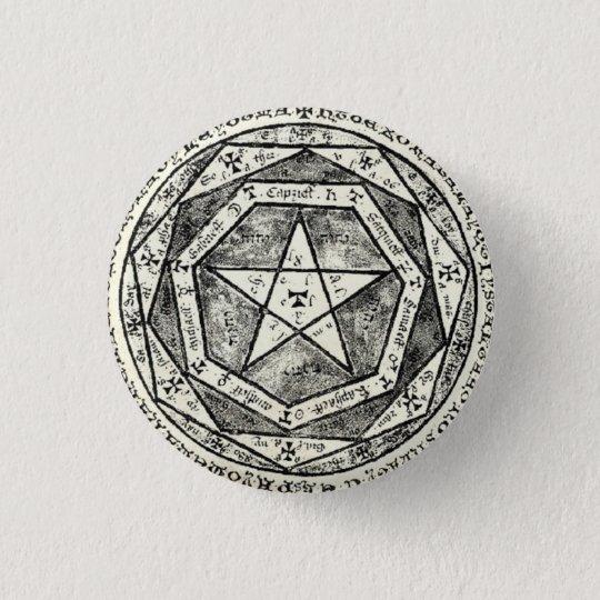 Medieval pentagram runder button 2,5 cm