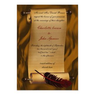 """medieval scroll vintage invitation 5"""" x 7"""" invitation card"""