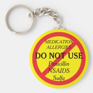 Medikations-Allergie-mehrfacher medizinischer Schlüsselanhänger