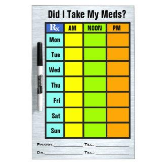 Medikations-Karo-Liste (trocknen Sie Memoboard