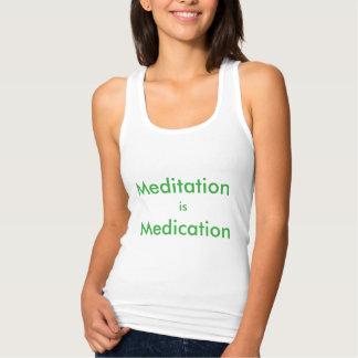 Meditation ist Medikation Racerback Trägershirt Tank Top
