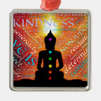 Meditation Quadratisches Silberfarbenes Ornament