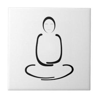 Meditations-Mann-Schwarzes Kleine Quadratische Fliese