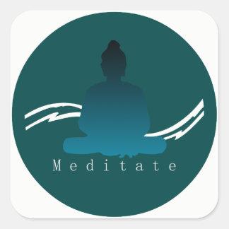 """""""Meditieren"""" schöner Buddha Quadratischer Aufkleber"""