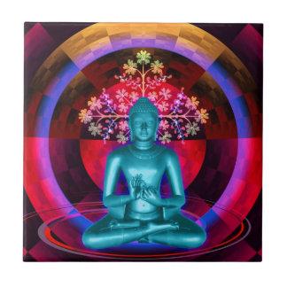 Meditierende blaue Buddha-Fliese Kleine Quadratische Fliese