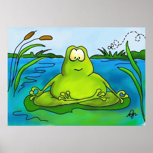 Meditierender Froschkunstdruck oder -plakat