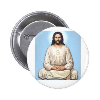 Meditierender Jesus mit OM Runder Button 5,7 Cm