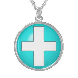 Medizinischer Alarm - Aqua Sterling Silberkette