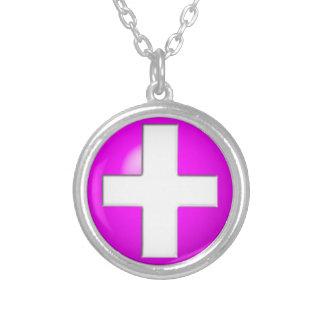 Medizinischer Alarm - Rosa Versilberte Kette