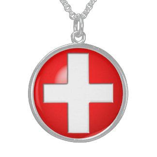Medizinischer Alarm - Rot Sterling Silberkette