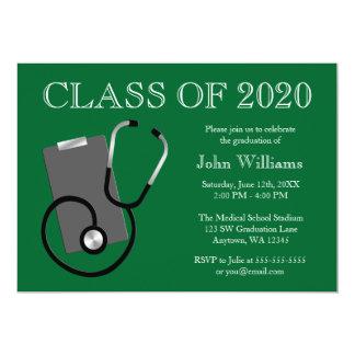 Medizinischer Krankenpflege-Schulgrün-Abschluss 12,7 X 17,8 Cm Einladungskarte