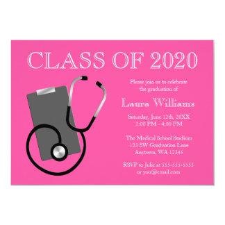 Medizinischer Krankenpflege-Schulrosa-Abschluss 12,7 X 17,8 Cm Einladungskarte