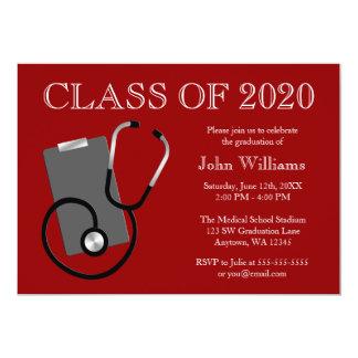 Medizinischer Krankenpflege-Schulrot-Abschluss 12,7 X 17,8 Cm Einladungskarte