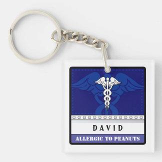 Medizinisches wachsames Keychain Blau - fertigen Beidseitiger Quadratischer Acryl Schlüsselanhänger