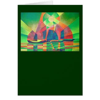 Meer des Grüns mit Cubist-abstraktem Kram Karte