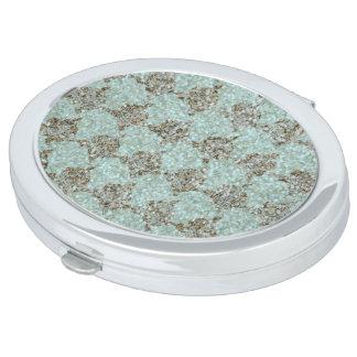Meer-Glas u. Gems_Roses_Turquoise-Deep Gold Taschenspiegel