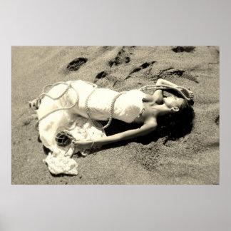 Meer weißen schwarzen Sand verheirateter Strand zu Poster