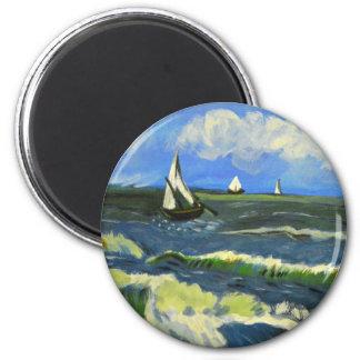Meerblick bei Saintes-Maries, Van Gogh Runder Magnet 5,1 Cm