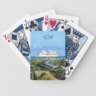 Meerblick mit dem Kreuzfahrt-Schiff mit Monogramm Bicycle Spielkarten