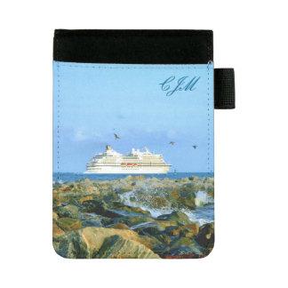 Meerblick mit dem Kreuzfahrt-Schiff mit Monogramm Mini Padfolio
