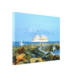 Meerblick mit LuxusKreuzschiff Leinwanddruck