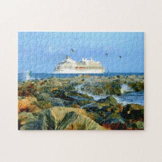 Meerblick mit LuxusKreuzschiff Puzzle