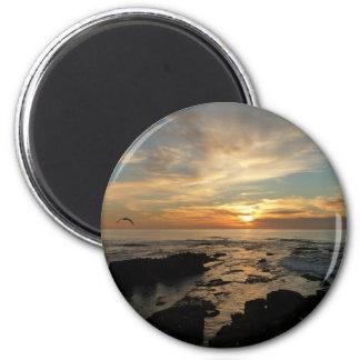 Meerblick San Diego Sonnenuntergang-I Kalifornien Runder Magnet 5,7 Cm