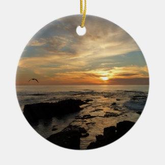 Meerblick San Diego Sonnenuntergang-I Kalifornien Rundes Keramik Ornament