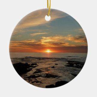 Meerblick San Diego Sonnenuntergang-II Kalifornien Rundes Keramik Ornament