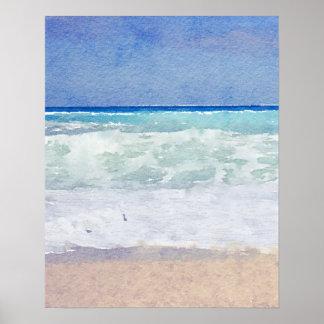 Meerblick-Strand und Wellen-Aquarell Poster