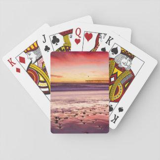 Meerblick und Pier am Sonnenuntergang, CA Spielkarten