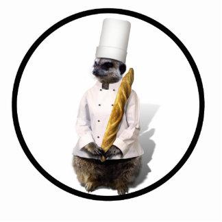 Meercat Koch mit Stangenbrot Freistehende Fotoskulptur