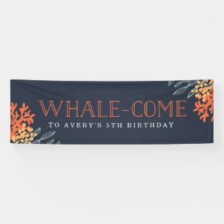 Meeresflora und -fauna-Geburtstag Banner