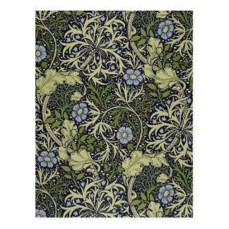 Meerespflanze-Muster-Vintage mit Blumenkunst Postkarte