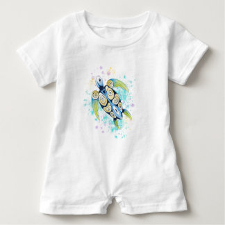 Meeresschildkröte-Aquarell-Spritzen Baby Strampler