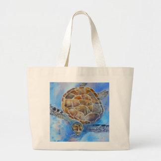 Meeresschildkröte-Aquarell-Strand-Tasche Jumbo Stoffbeutel