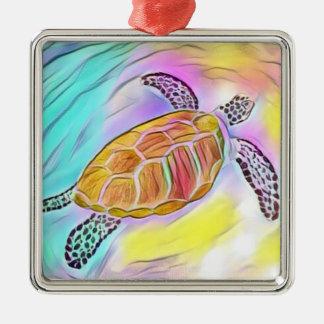 Meeresschildkröte-Aquarell-Verzierung 2 Silbernes Ornament