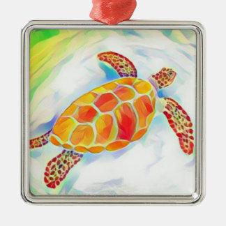 Meeresschildkröte-Aquarell-Verzierung 4 Silbernes Ornament