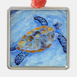 Meeresschildkröte-Aquarell-Verzierung Silbernes Ornament