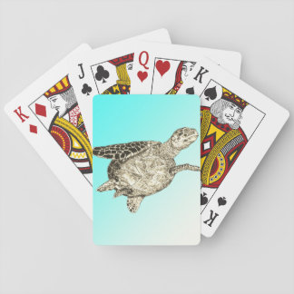 Meeresschildkröte auf Aqua-Blau-Hintergrund Spielkarten