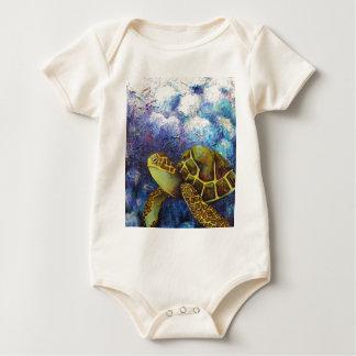 Meeresschildkröte, Beschaffenheits-Kunst-Produkte Baby Strampler